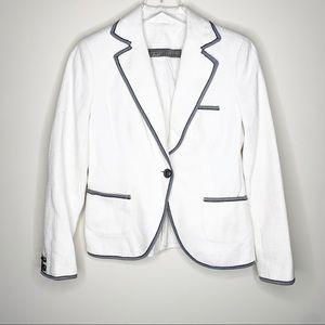 ZARA BASIC White Linen Blazer Single Button Small